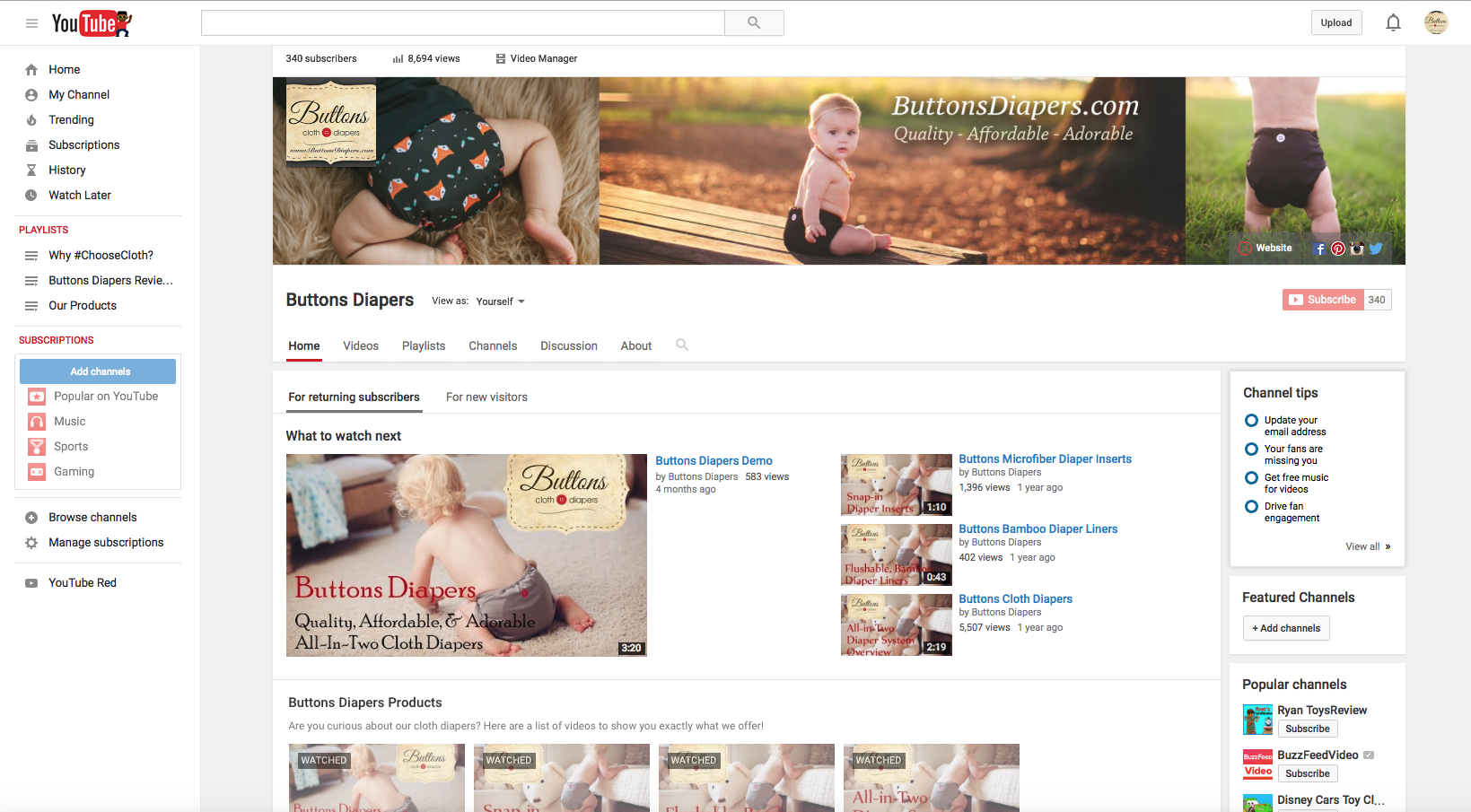 Buttons Diapers Youtube Page Redo