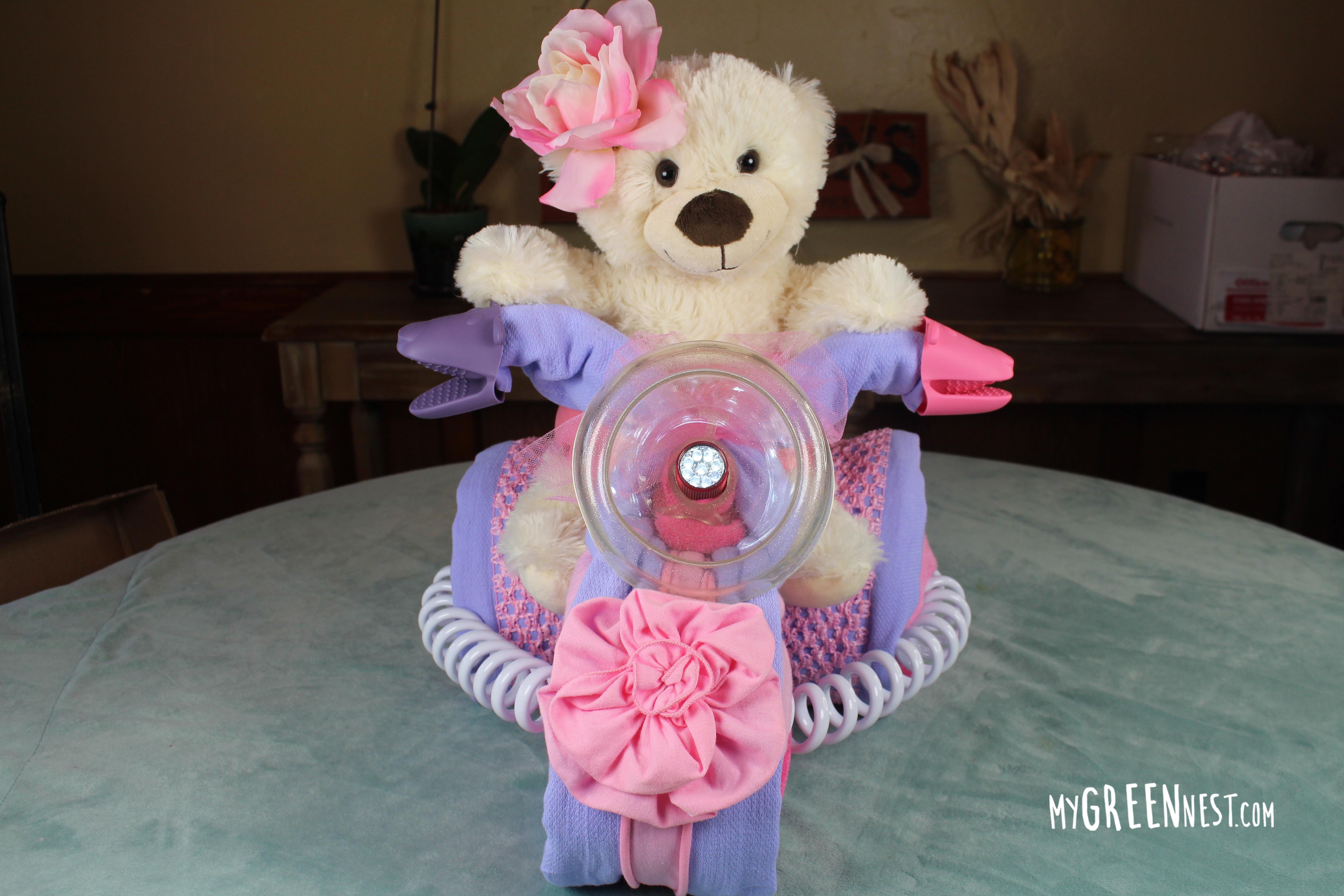 Cloth Diaper Cake – Princess Bear Tricycle Tutorial!
